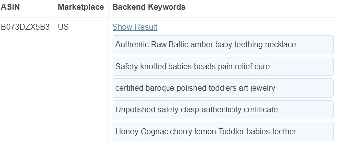 backend keywords amazon competitors