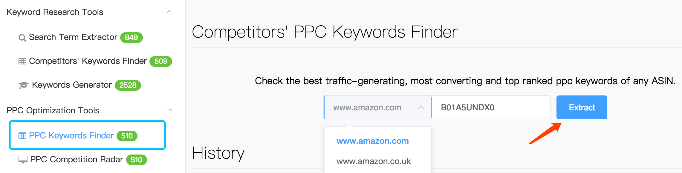 amzdatastudio ppc keyword finder